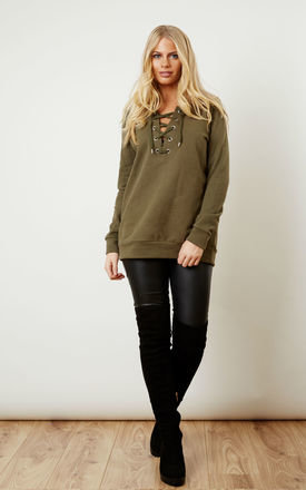 Lace Up Sweat Top in Ivy Green by VILA
