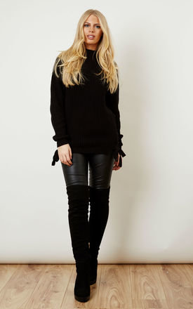 Black knit top with lace up side by VILA Product photo