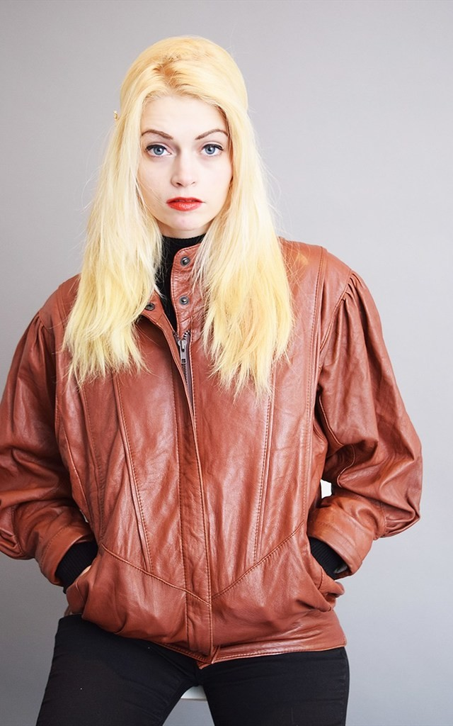80's retro brown genuine leather oversized bomber jacket top by Lover