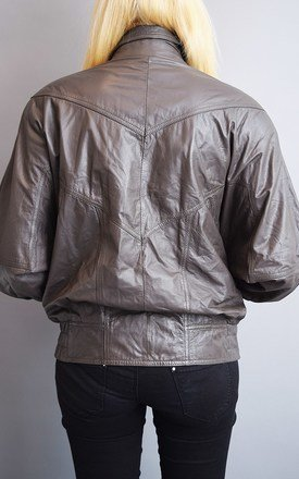 80's retro grey genuine leather oversized bomber jacket top by Lover
