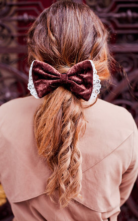 Brown velvet hair bow by Beauxoxo Product photo