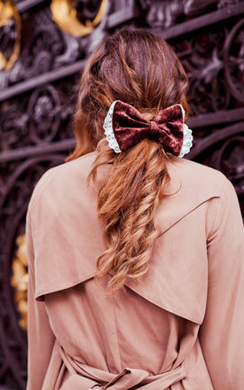 Brown Velvet Hair Bow by Beauxoxo