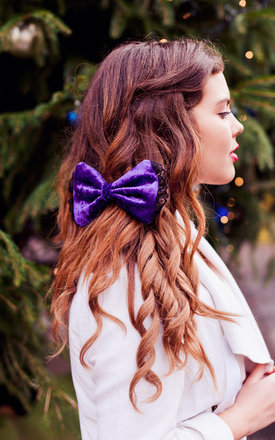 Purple velvet hair bow by Beauxoxo Product photo