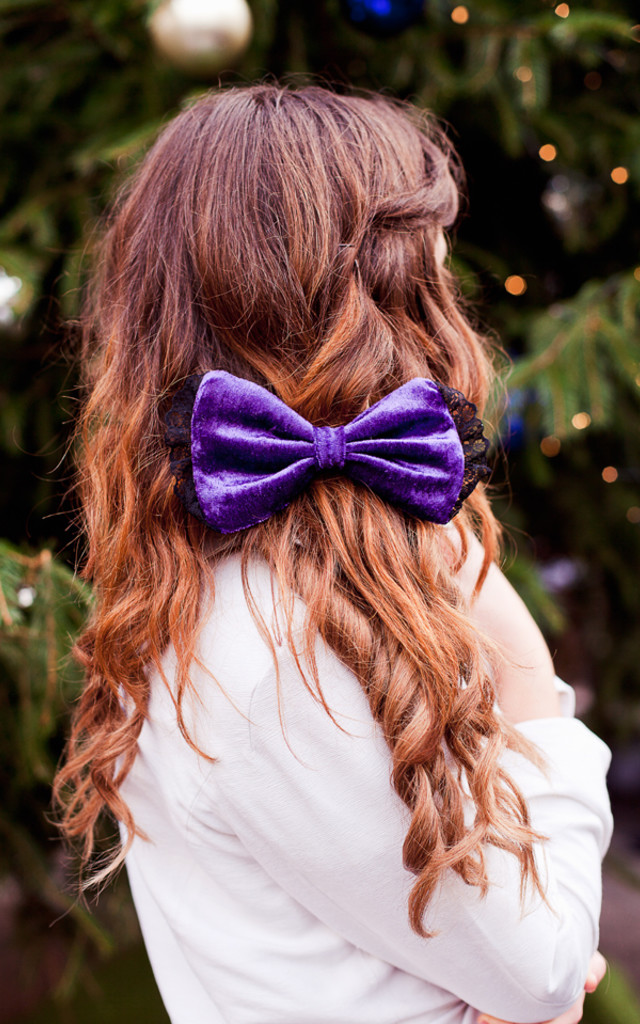 Purple Velvet Hair Bow by Beauxoxo