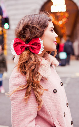 Ruby red velvet hair bow by Beauxoxo Product photo