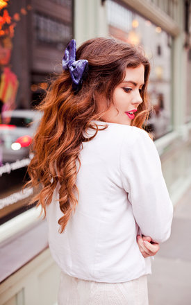 Silver Blue Velvet Hair Bow by Beauxoxo