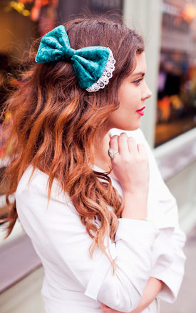 Teal Velvet Hair Bow by Beauxoxo