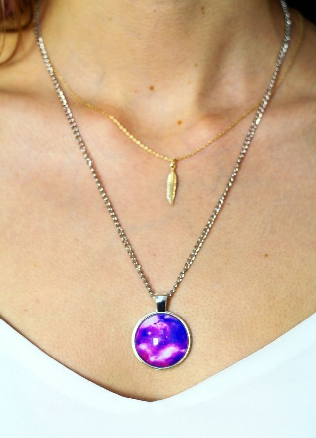 1990s inspired purple cosmo pendant silver chain necklace by Colour Me Vintage