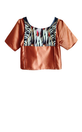 Sho silk print crop blouse by Silence Beyond Syllables Product photo