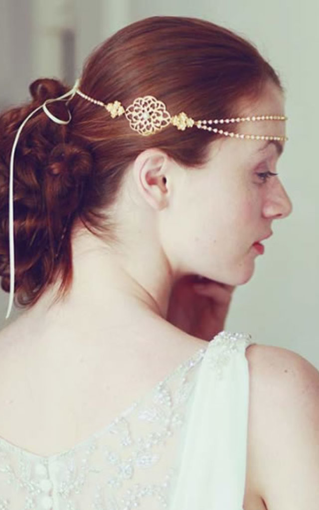 Auric Gold Browband headchain boho hair accessory by LHG Designs
