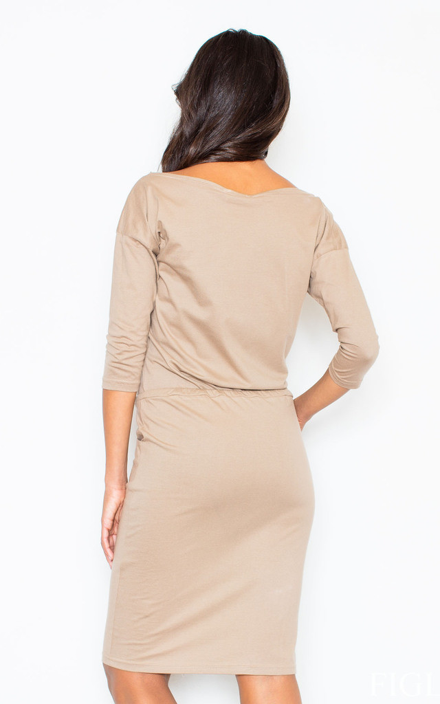Beige Knee Long Dress 3/4 Sleeve by FIGL