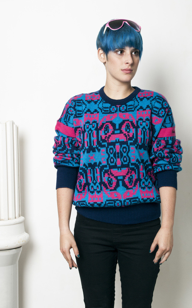 90s vintage neon crazy ski fun knit jumper by Pop Sick Vintage