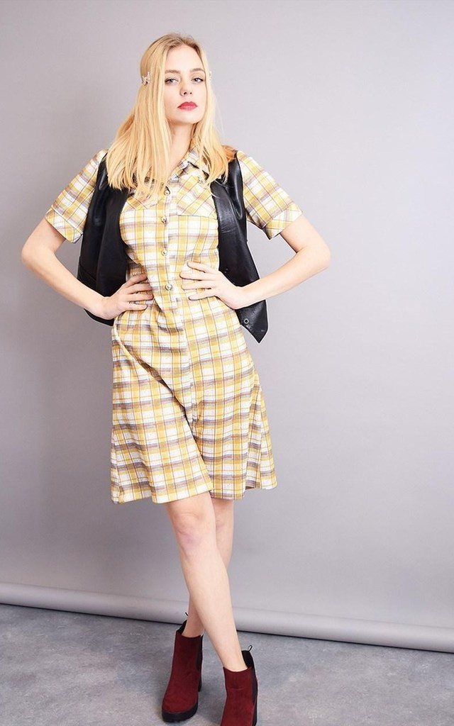 Vintage 70's Mod tartan checked shortsleeved midi dress by Lover