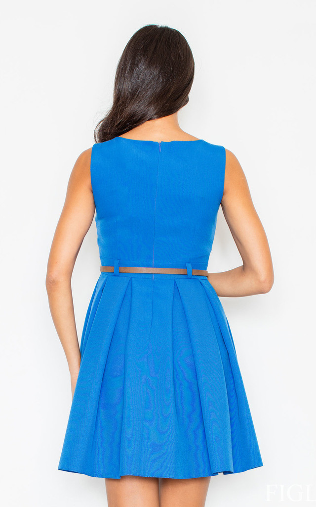 Blue Belted Flare Dress by FIGL