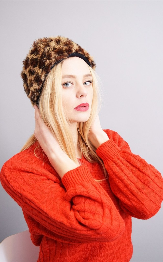Vintage 80's faux fur leopard pattern winter Boho hat by Lover