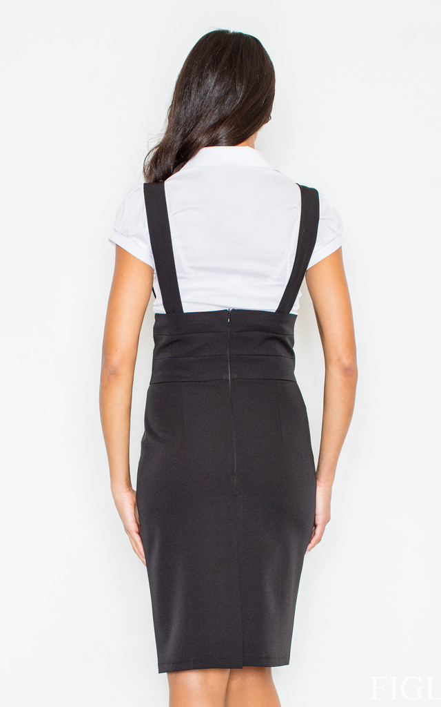 Pencil Skirt with Suspenders in Black by FIGL