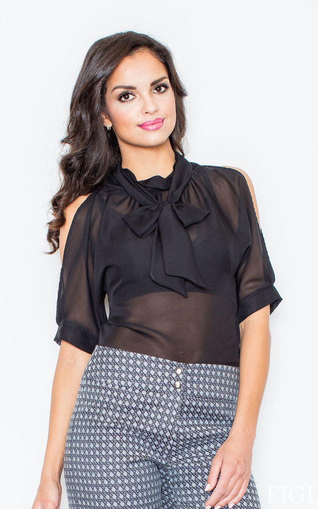 Black Chiffon Blouse with Turtleneck and Bow by FIGL