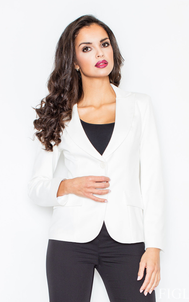 Ecru Fitted Waist Blazer Jacket by FIGL