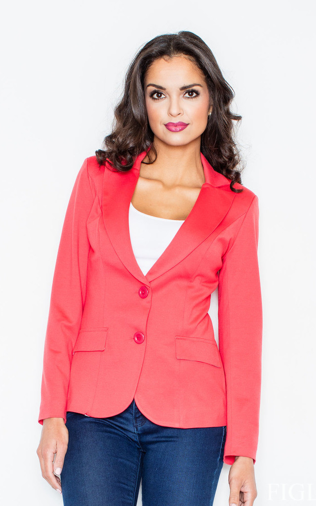 Coral Fitted Waist Blazer Jacket by FIGL