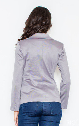 Grey Fitted Waist Blazer Jacket by FIGL