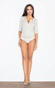 3/4 Sleeve Bodysuit with Zip in Light Beige by FIGL