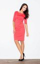 3/4 Sleeve Knee Length Dress with Boat Neck in Coral by FIGL