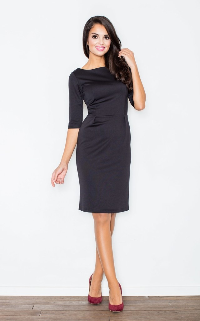 3/4 Sleeve Knee Length Dress with Boat Neck in Black by FIGL