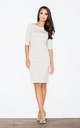 3/4 Sleeve Knee Length Dress with Boat Neck in Beige by FIGL