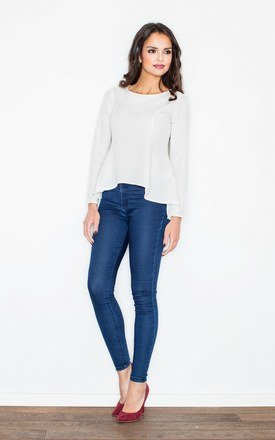 Ecru Blouse with Fishtail Peplum-Like Hem by FIGL
