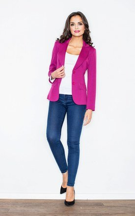 Magenta Fitted Waist Blazer Jacket by FIGL