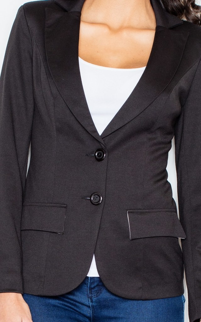Blazer with Tailored Waist in Black by FIGL