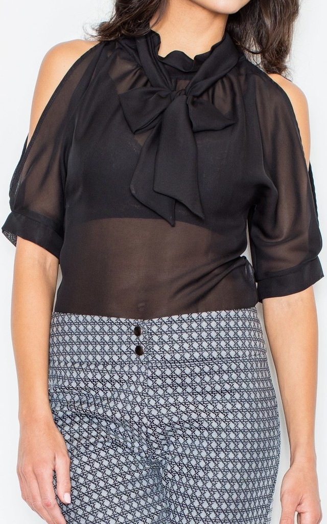 High Neck Blouse with Bow in Black Chiffon by FIGL