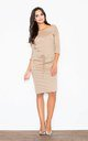 Knee Length Dress with 3/4 Sleeves in Beige by FIGL