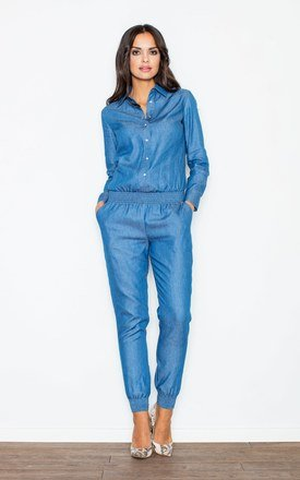 Blue button front jumpsuit of jeans-like material with a collar by FIGL Product photo