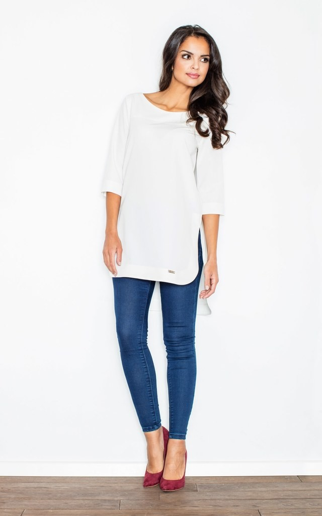 Long top with half sleeve in white by FIGL