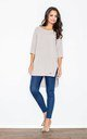 Beige 3/4 Sleeve Long Back Tunic by FIGL