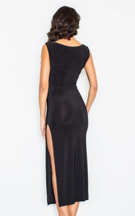 Black Side Split Dress by FIGL