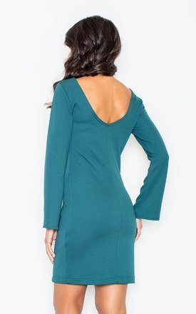 Cocktail Mini Dress with Flared Sleeves in Teal by FIGL