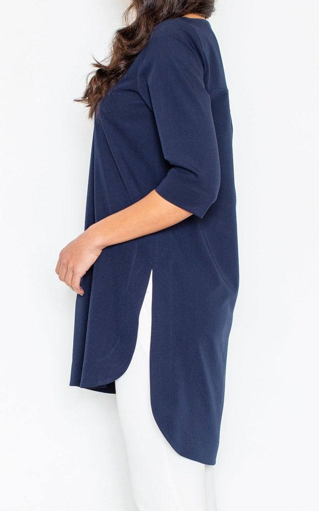 Navy Blue 3/4 Sleeve Long Back Tunic by FIGL