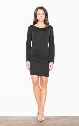 Cocktail Mini Dress with Flared Sleeves in Black by FIGL