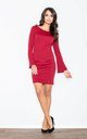 Cocktail Mini Dress with Flared Sleeves in Dark Red by FIGL