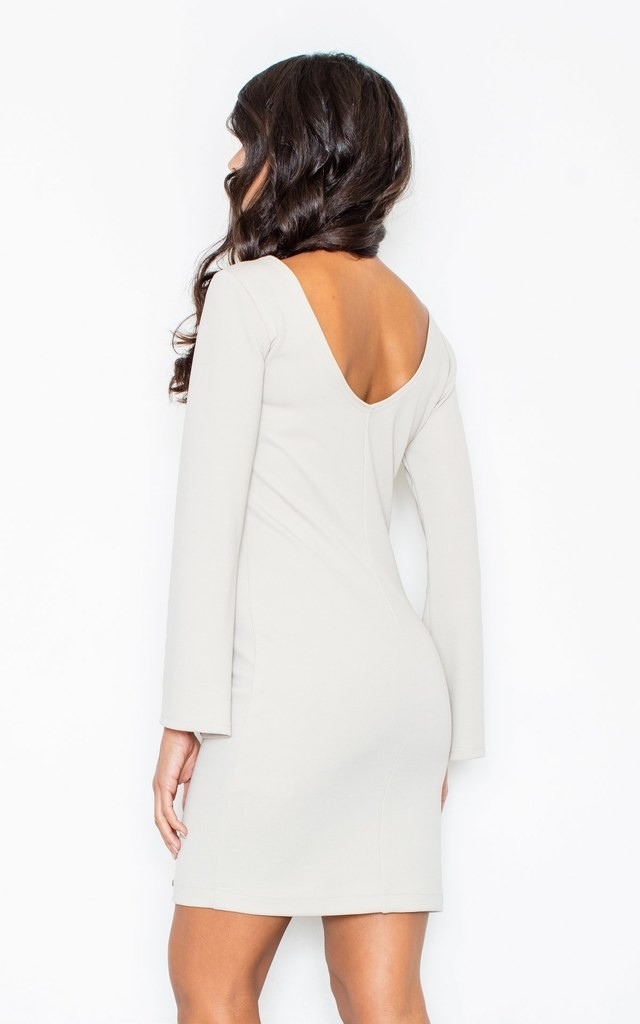 Cocktail Mini Dress with Flared Sleeves in Light Beige by FIGL