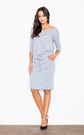 Knee Length Dress with 3/4 Sleeves in Light Grey by FIGL