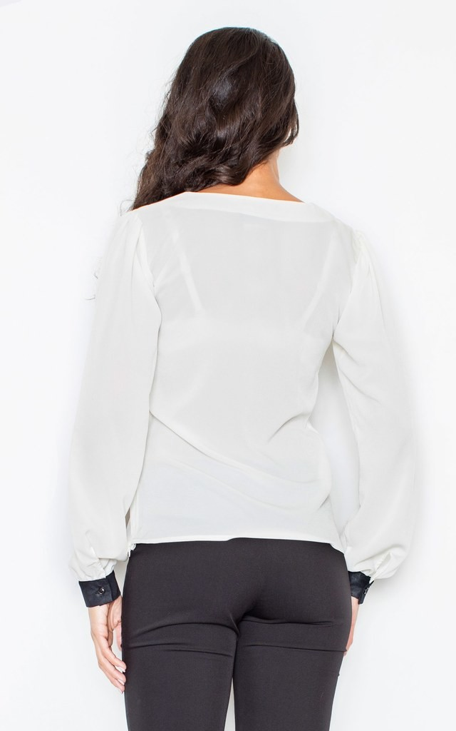 Long sleeve Blouse with Contrasting Cuffs by FIGL