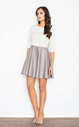 Beige dress with 3/4 Sleeves by FIGL