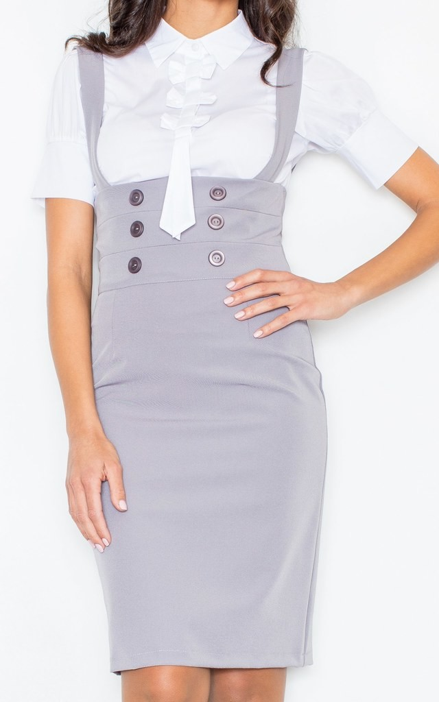 Grey Pencil Skirt Shoulders with Straps and Buttons by FIGL