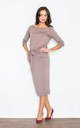 Brown Loose Fitting Long Sleeved Casual Dress with Two Pockets by FIGL