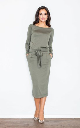 Olive Loose Fitting Long Sleeved Casual Dress with Two Pockets by FIGL