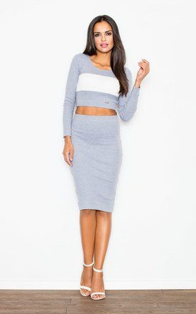 Grey Dress In The Form Of a Set Consisting Of a Knee-Length Skirt And a Crop Top by FIGL