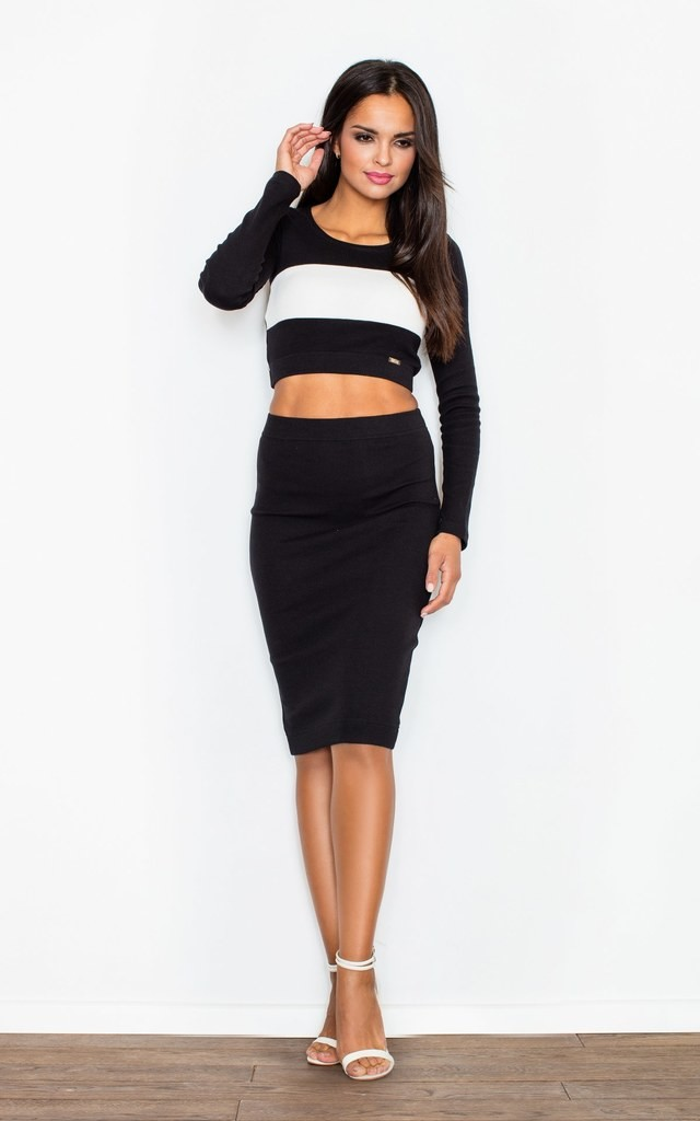 Black Dress In The Form Of a Set Consisting Of a Knee-Length Skirt And a Crop Top by FIGL